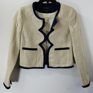 J. Crew Tan/Navy Linen Button Hook Blazer Size 0